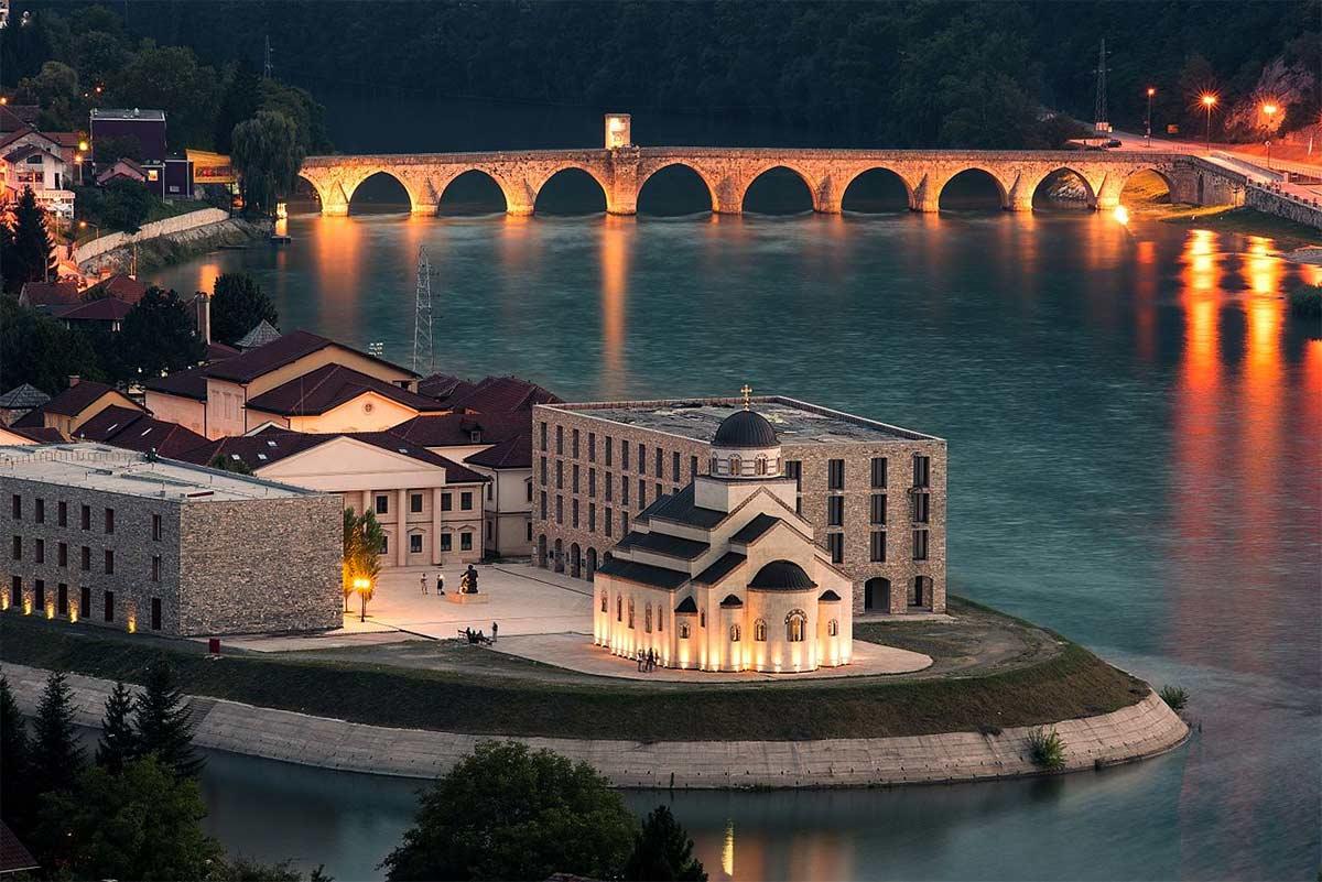 Andricgrad at Visegrad with Mehmed Pasa Sokolovic Bridge