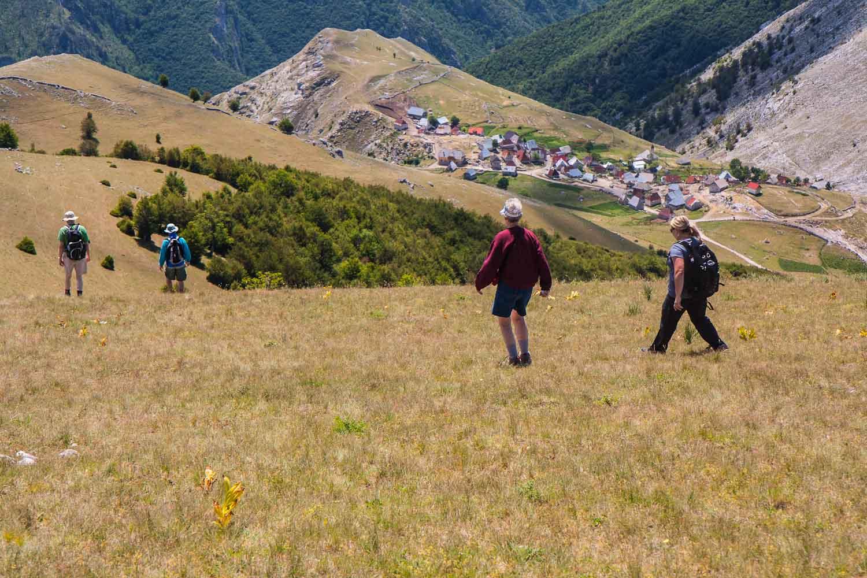 Descent towards Lukomir Village from Peak Obalj at 1896m at Bjelašnica Olympic Mountain