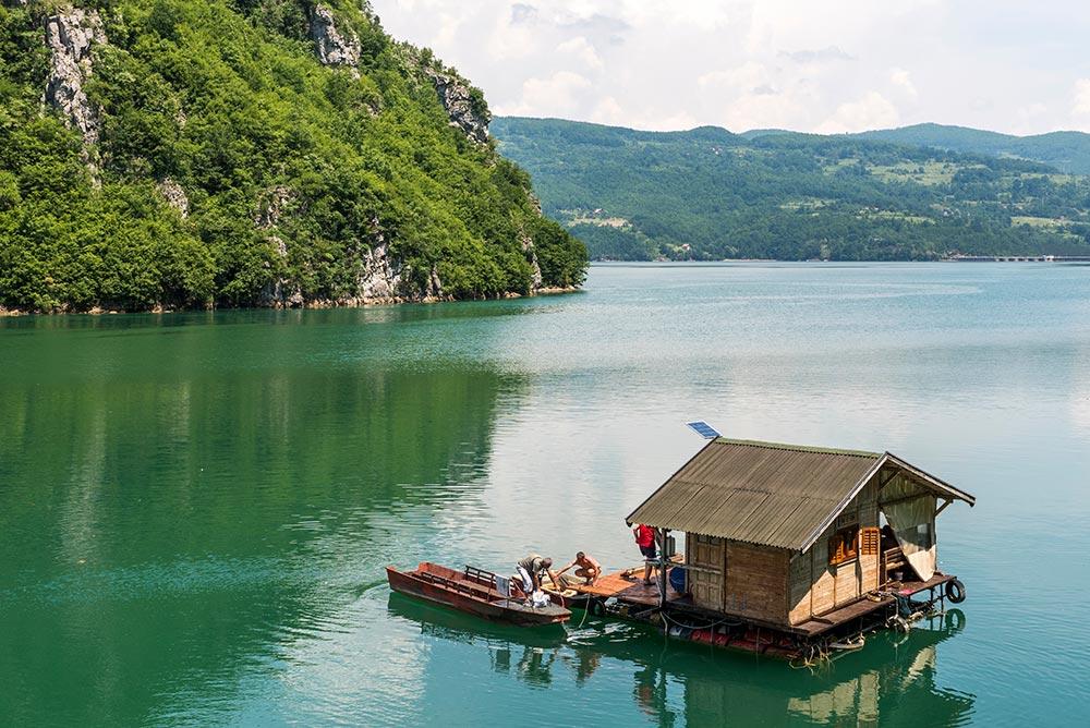 Drina river lake bordering Bosnia and Serbia