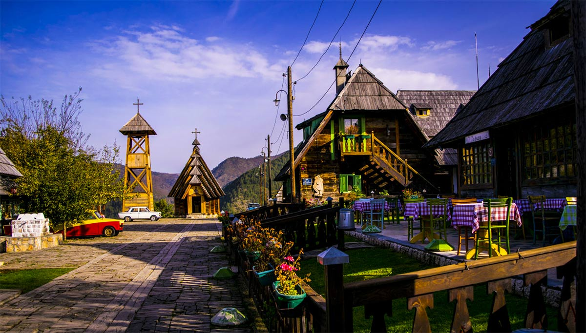 """Drvengrad (eng.Timber Town) also know as Küstendorf and Mećavnik. Village-town designed by the movie director Emir Kusturica for his movie """"Life is Miracle"""" and the design which won the """"Philippe Rotthier European Architecture Award"""" from the Brussels Foundation for Architecture."""