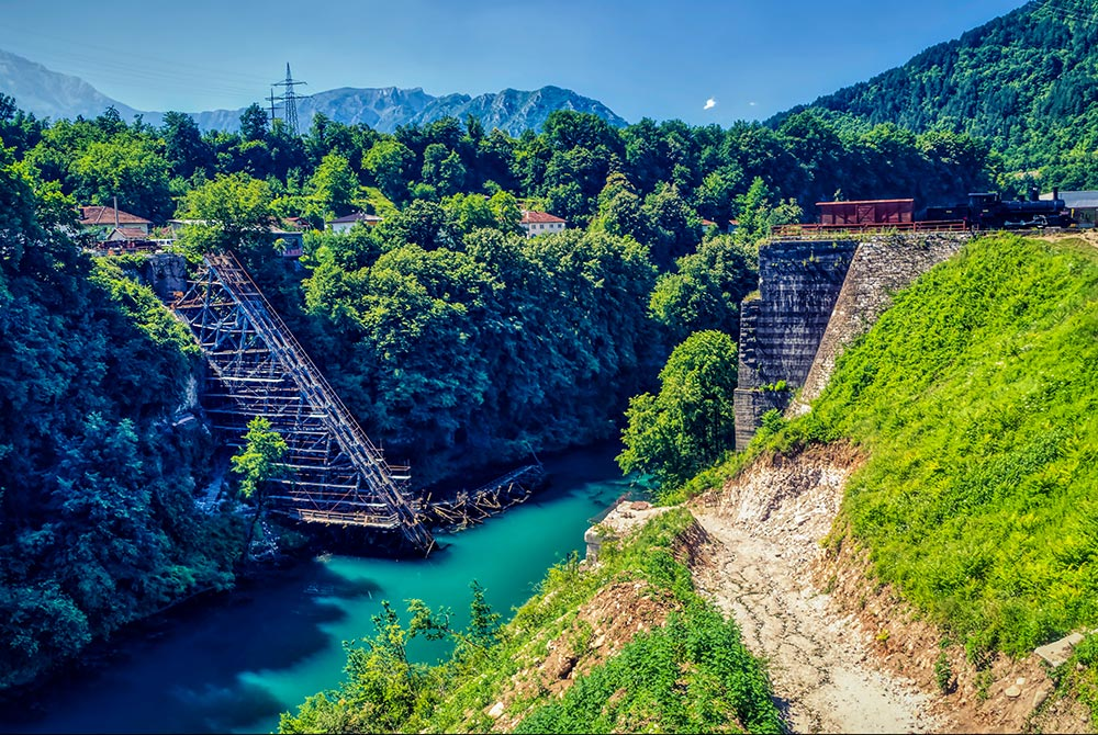 Jablanica bridge destroyed during the WW2 famous Neretva battle