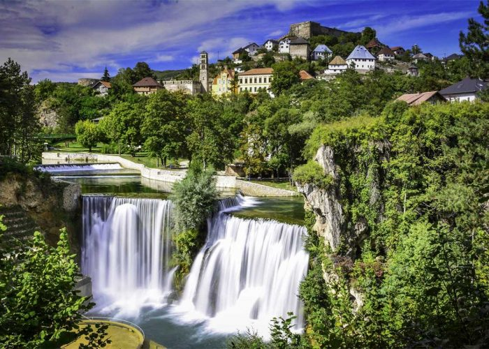 Jajce Waterfalls and Medieval Bosnian Kindgom Fort