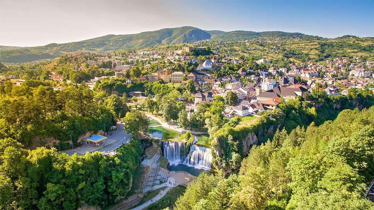 Jajce Town, with Medieval Fort and Pliva Waterfalls