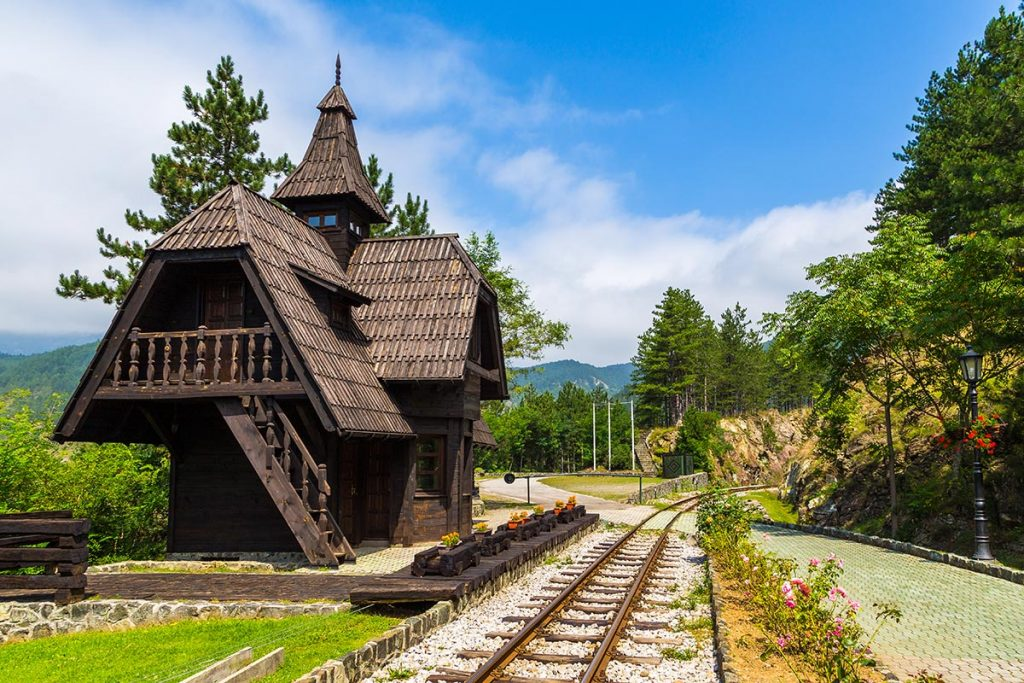 Jatare train station on the Sargan 8 (Sargan Eight - Sagarnska Osmica) narrow gauge railway commencing in Mokra Gora, Serbia
