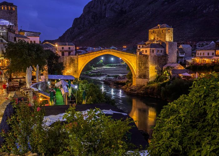 Mostar Old Bridge in the evening hours