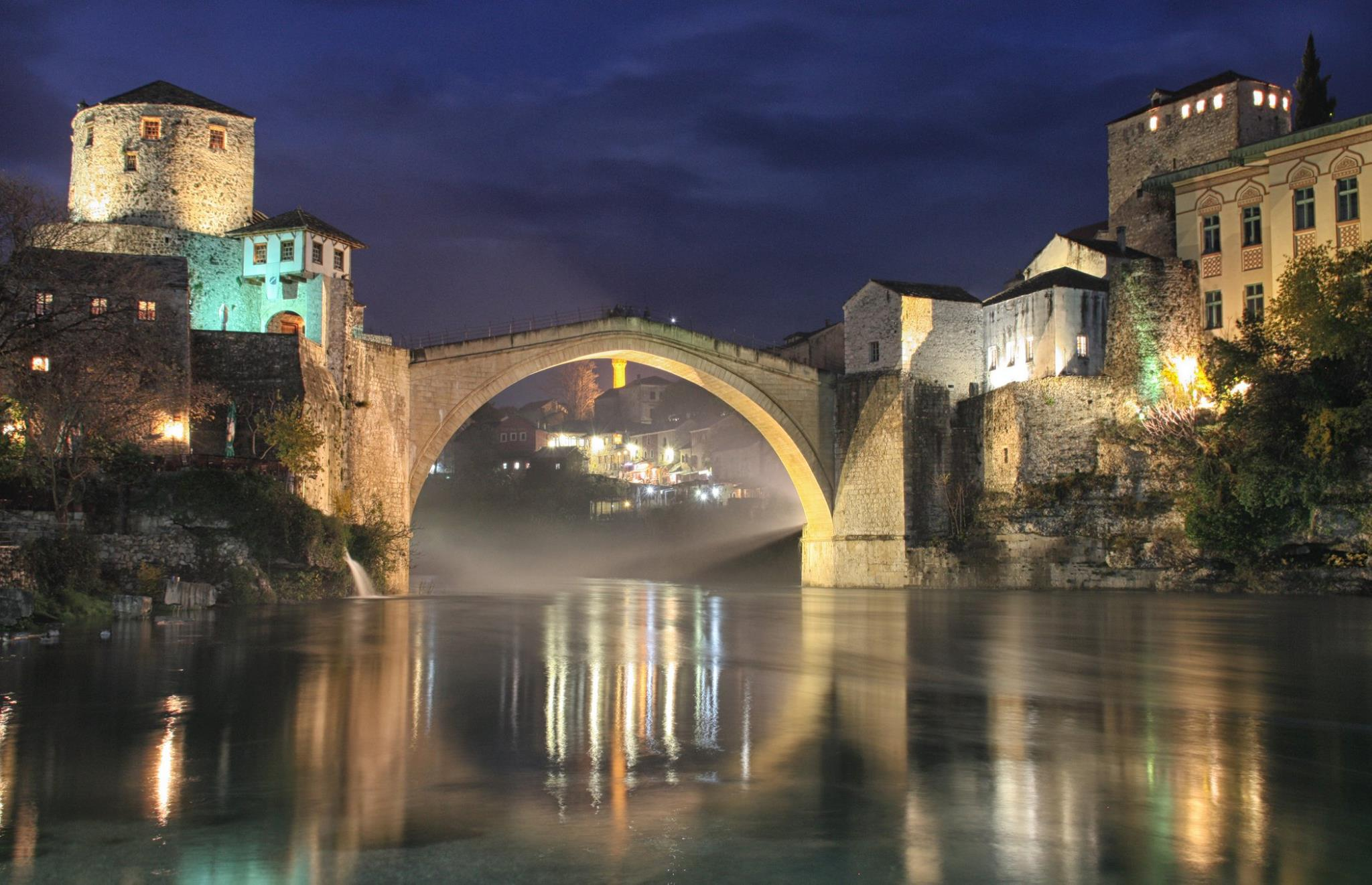 Mostar Old Bridge in the evening