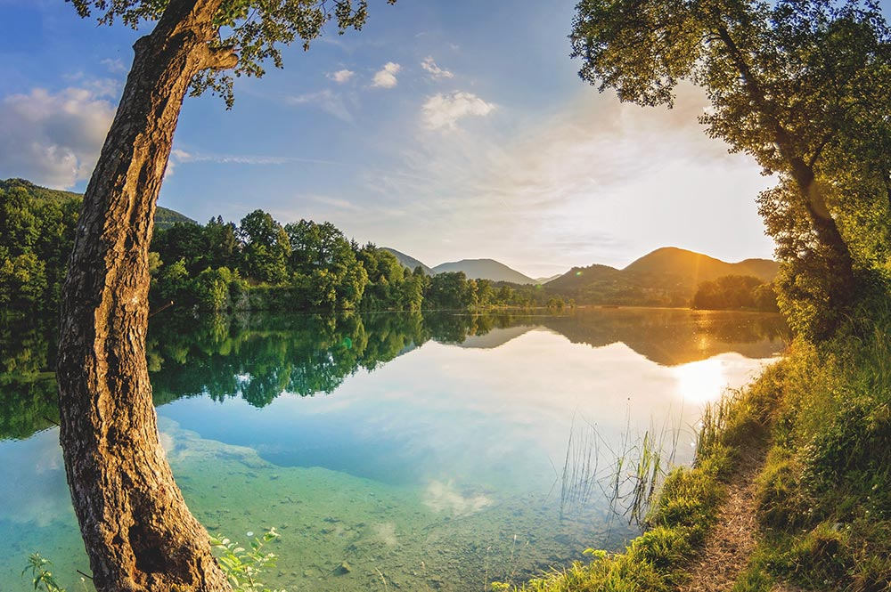Pliva Lake on Pliva river at Jajce - Bosnia and Herzegovina