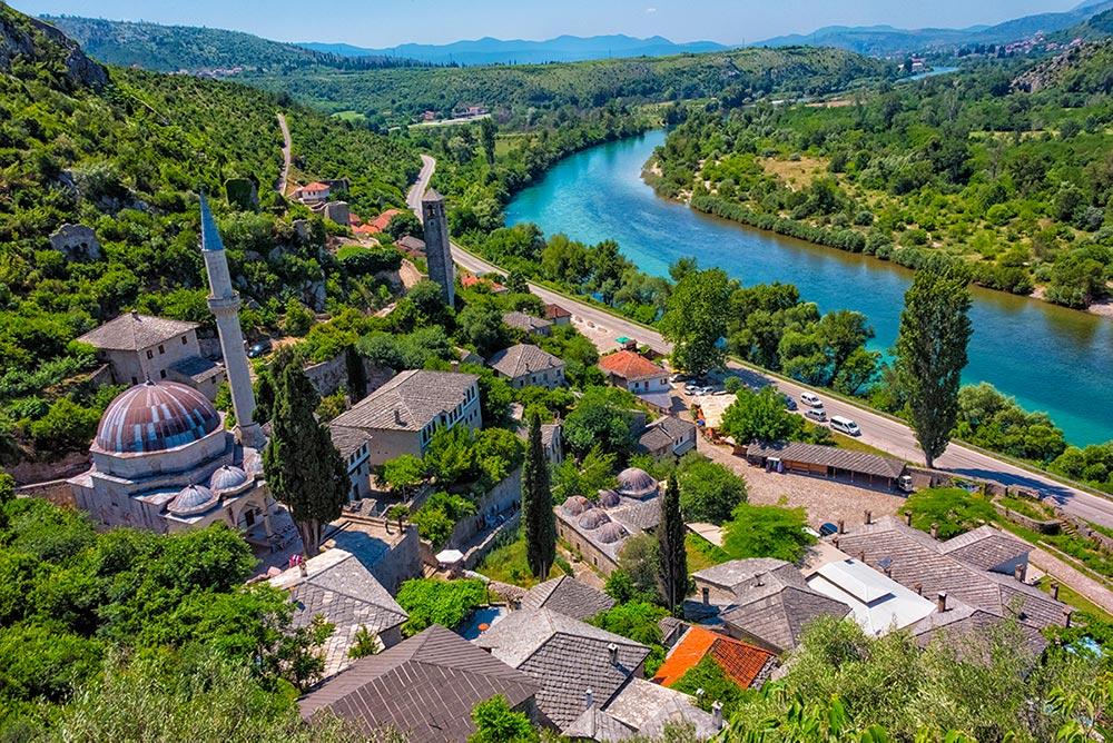 Pocitelj town overlooking Neretva river - Herzegovina