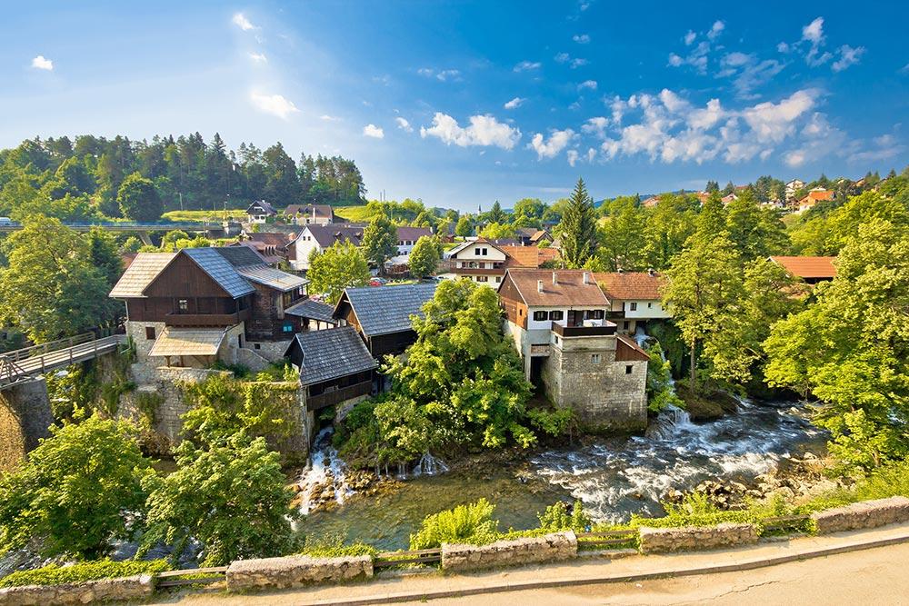 Rastoke, Slunj, Croatia, bridge over Korana river canyon and beautiful traditional village with old water mills