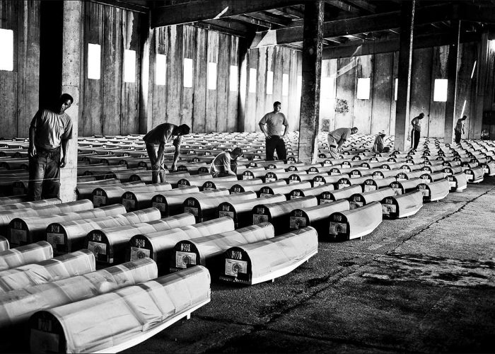 Srebrenica Genocide - exhumed bodies awaiting funeral on 11th of July