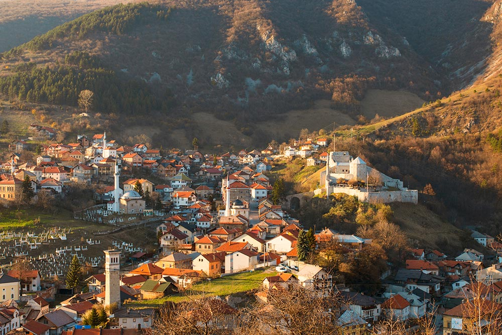 Travnik with old town and Ottoman fort - Central Bosnia