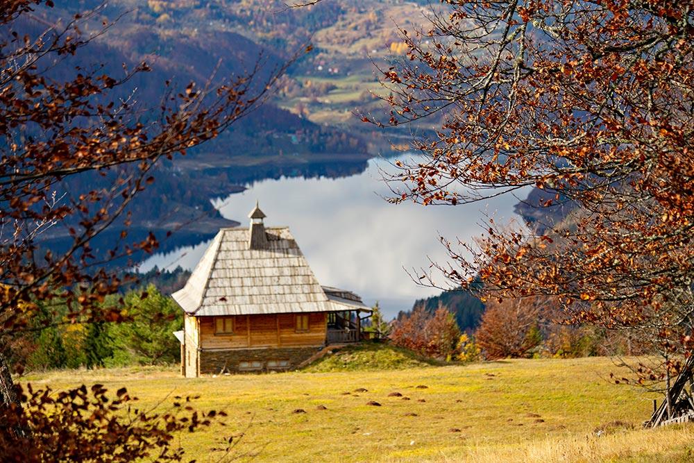 Zaovine Lake landscape - Tara National Park in Serbia during fall