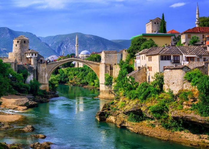 Mostar Old Bridge and Old Town with Neretva River