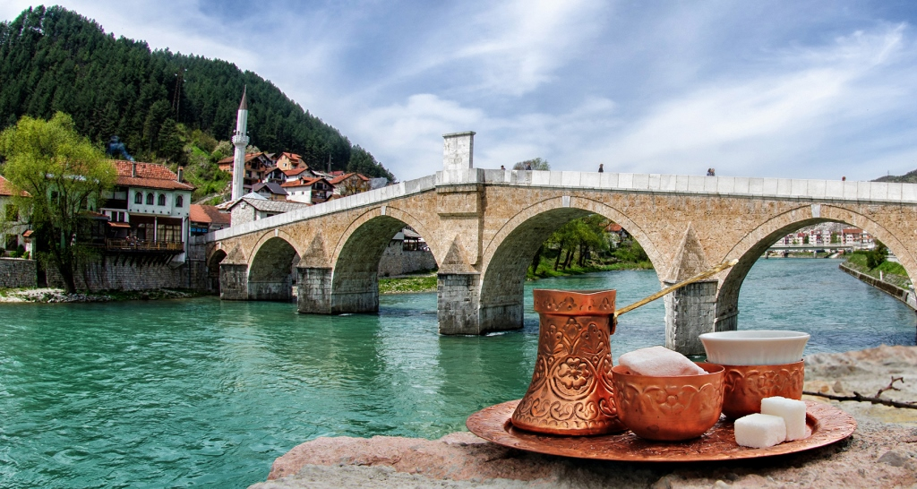Konjic Bridge, Neretva River and Bosnian Coffee