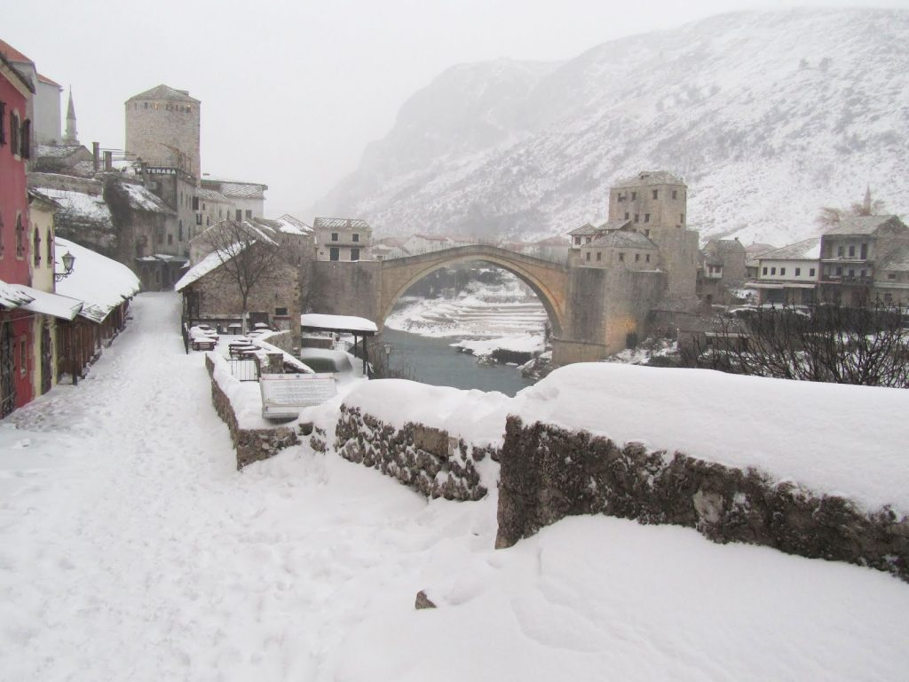 Mostar during the snow. Happens once every 50 years of more.
