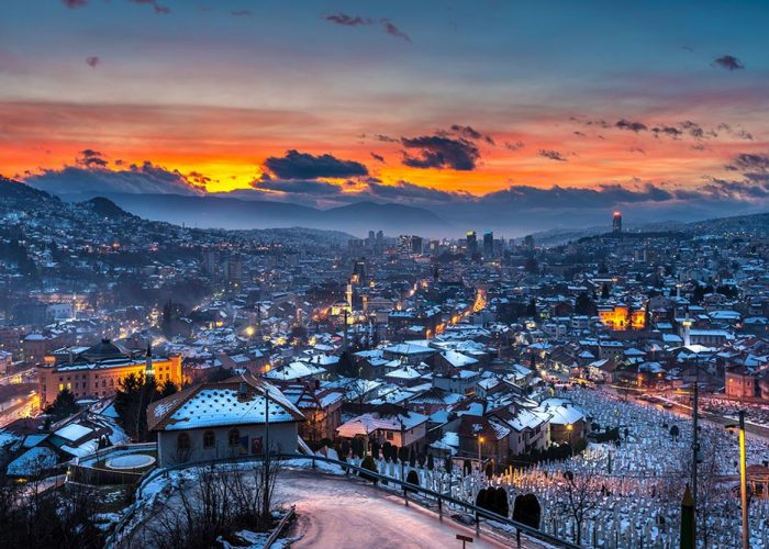 Sarajevo under snow during the winter time