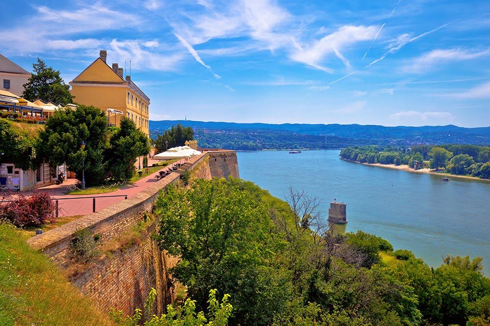Danube river landscape view from old hillside Petrovaradin town, Novi Sad in Vojvodina region of Serbia