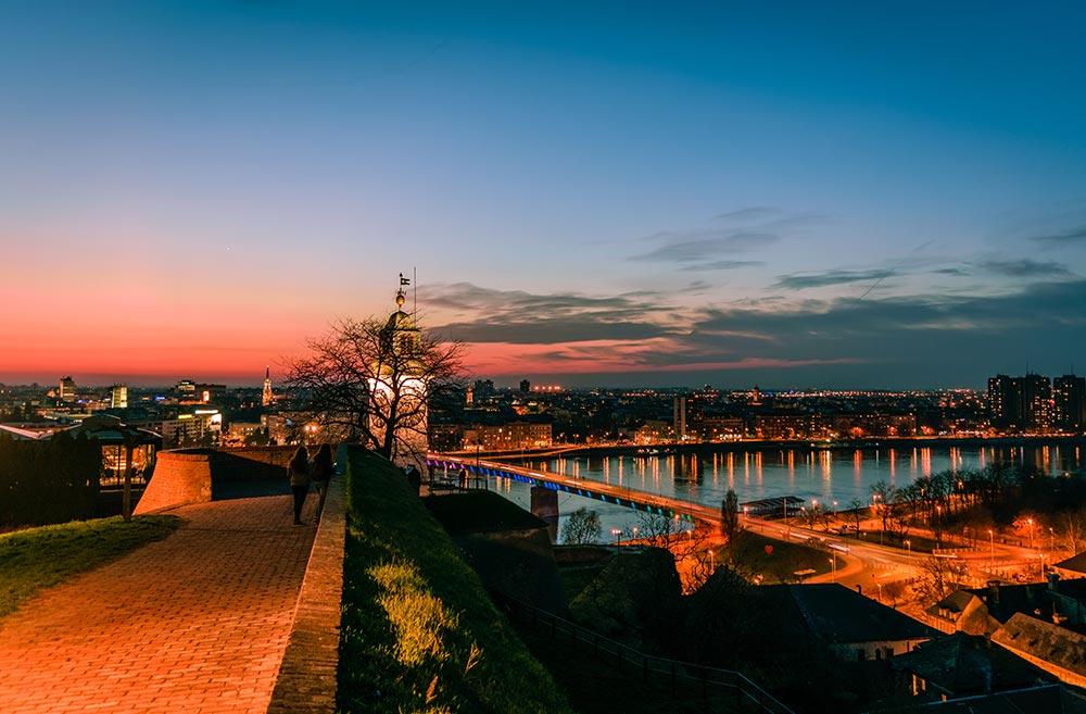 Sunset over Novi Sad from Petrovaradin Fortress