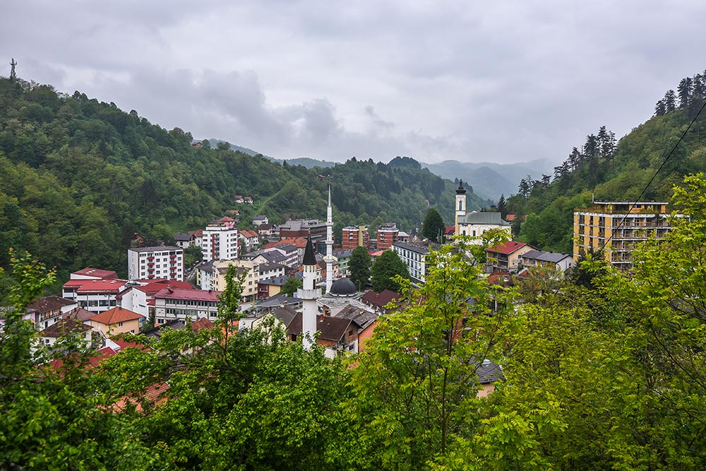 View of the valley with the town of Srebrenica - Bosnia and Herzegovina
