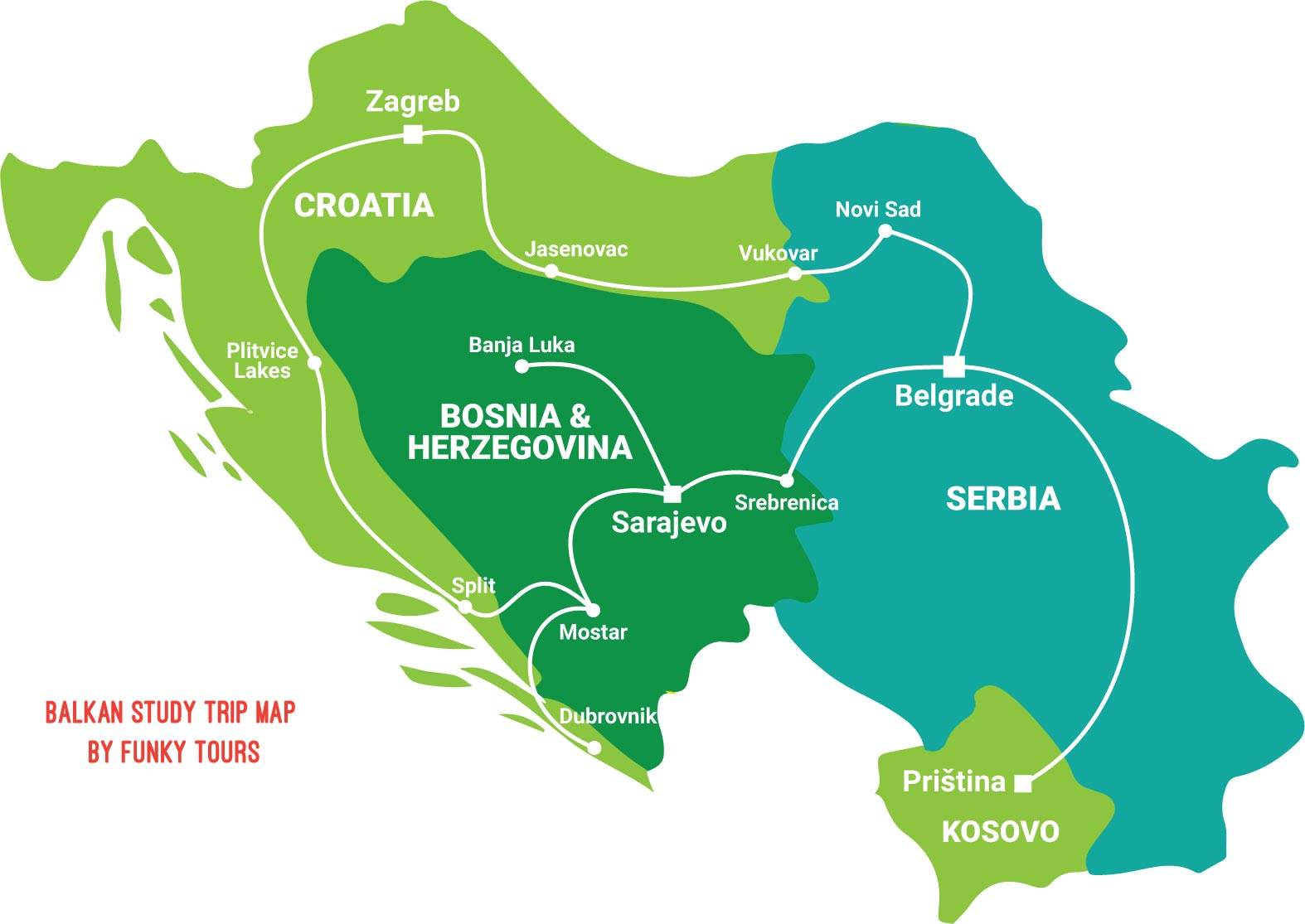 Balkan Study Tour Map by Funky Tours including Bosnia and Herzegovina, Croatia, Serbia and Kosovo.