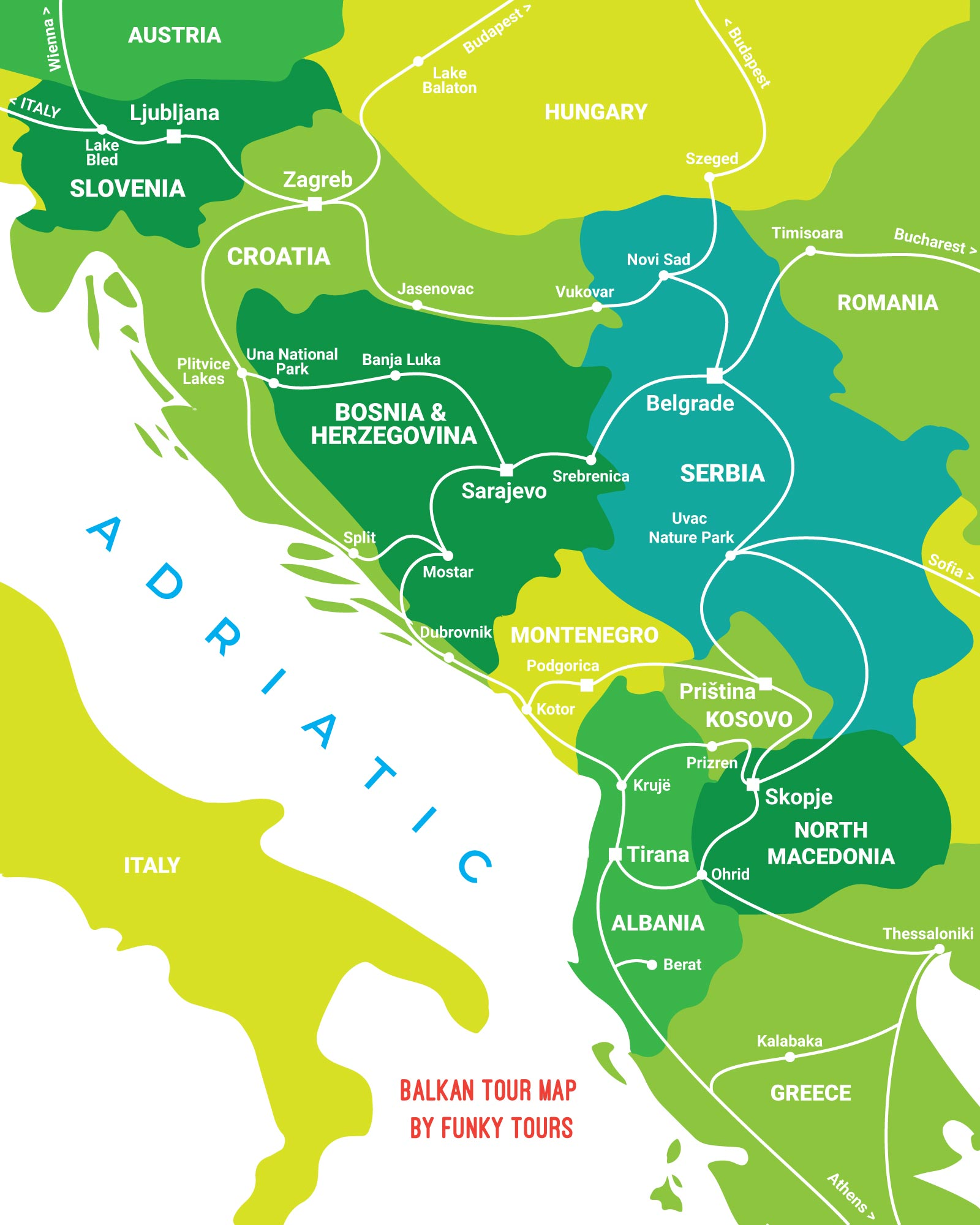 Balkan Tour Map By Funky Tours covering Albania, Bosnia and Herzegovina, Croatia, Serbia, Slovenia, Montenegro, North Macedonia and Kosovo.