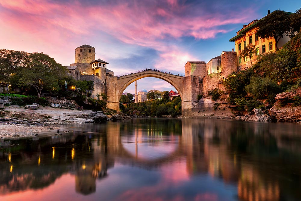 Mostar old bridge during the sunset