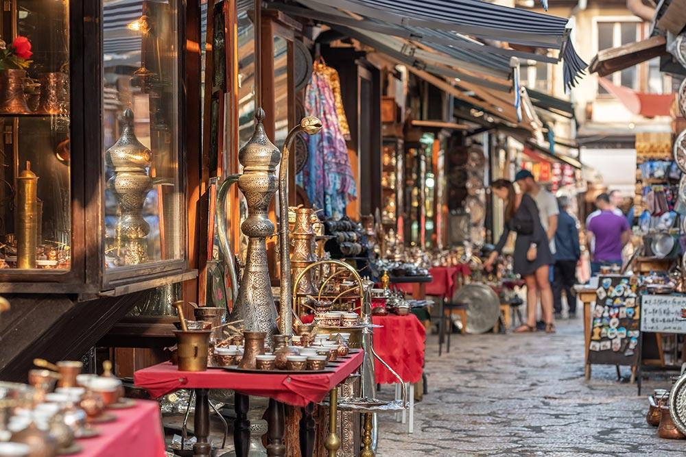 Sarajevo old town Bascarsija coppersmith street - Kazandziluk