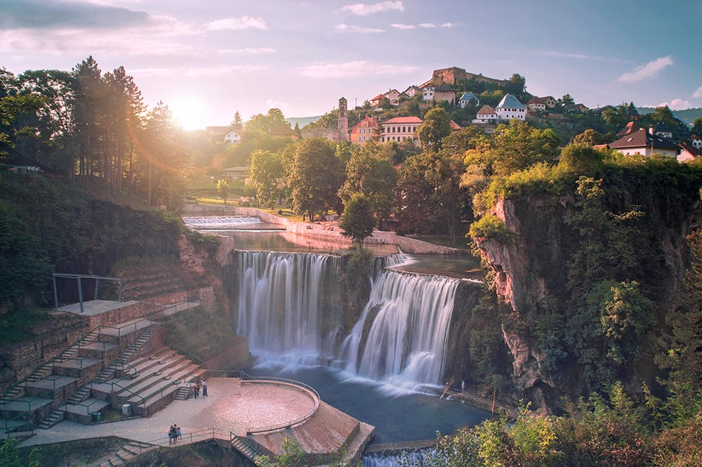 Jajce and Pliva waterfalls in Central Bosnia during the sunset
