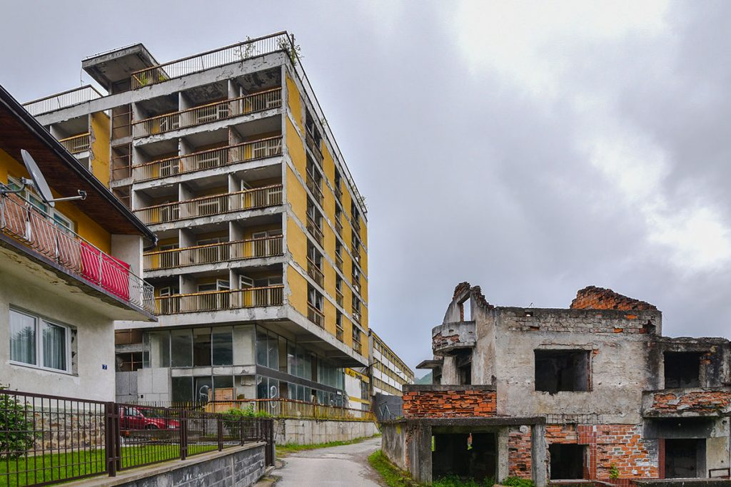 Ruins and abandoned buildings in Srebrenica