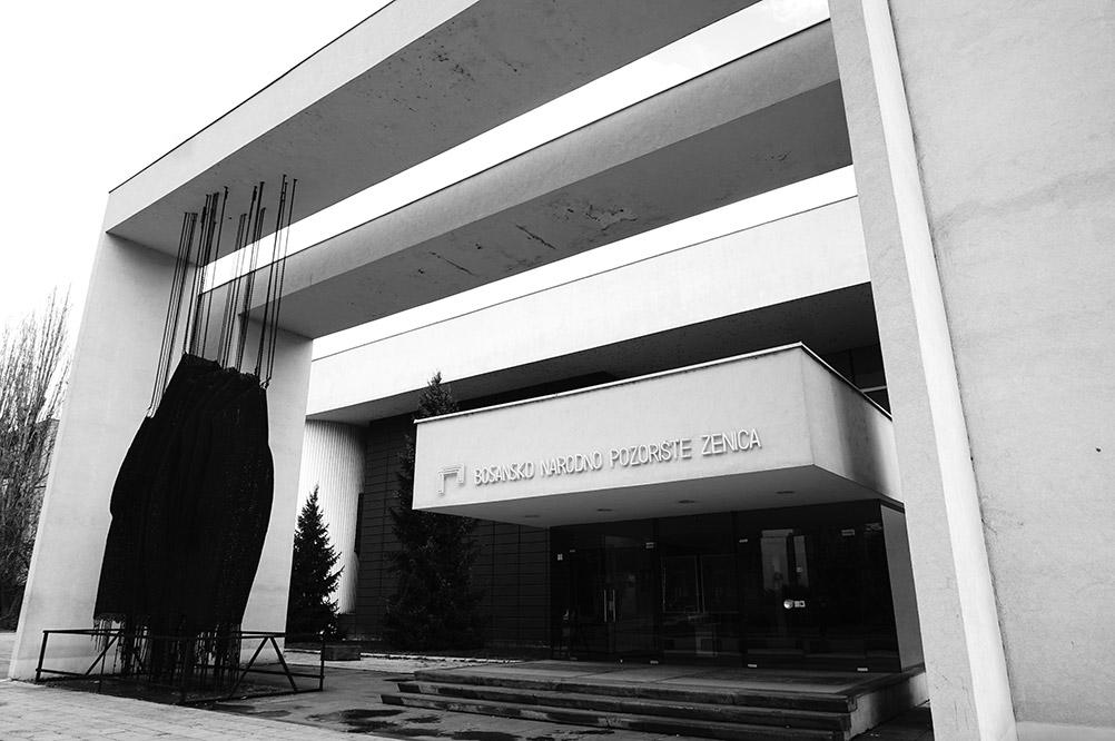 Bosnian National Theatre built in 1978 by the design of Zlatko Ugljen and Jahiel Finci