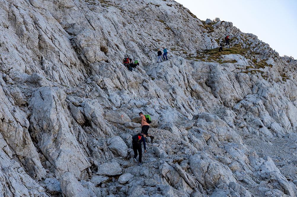Climbing the last big acent to Zelena glava peak - at places using ferrata