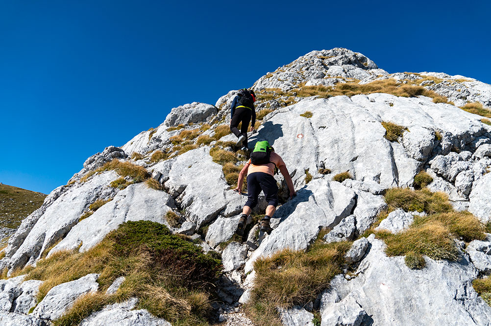 First challenging rock we have to climb in order to reach the peak Zelena glava at Prenj mountain