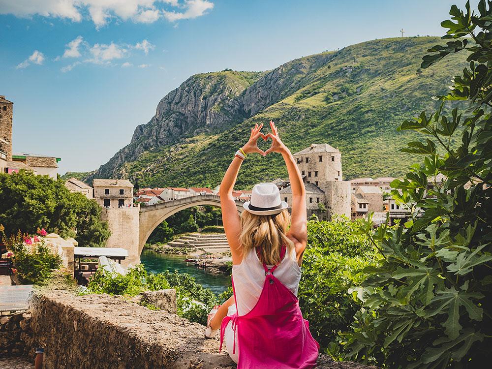 Mostar Old Bridge in Herzegovina