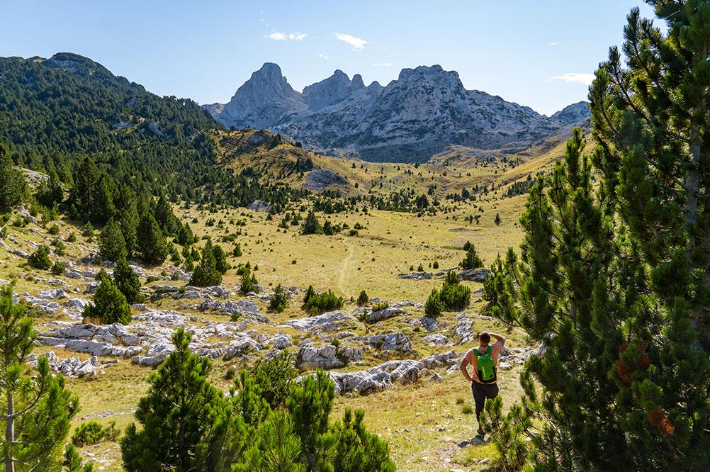 Mountaineer looking towards highest peak of Prenj mountain - Zelena glava at 2155m from Tisovica valley