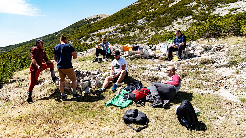 Taking a well deserved break at Vilinac hut at Cvrsnica mountain and having a open air bbq
