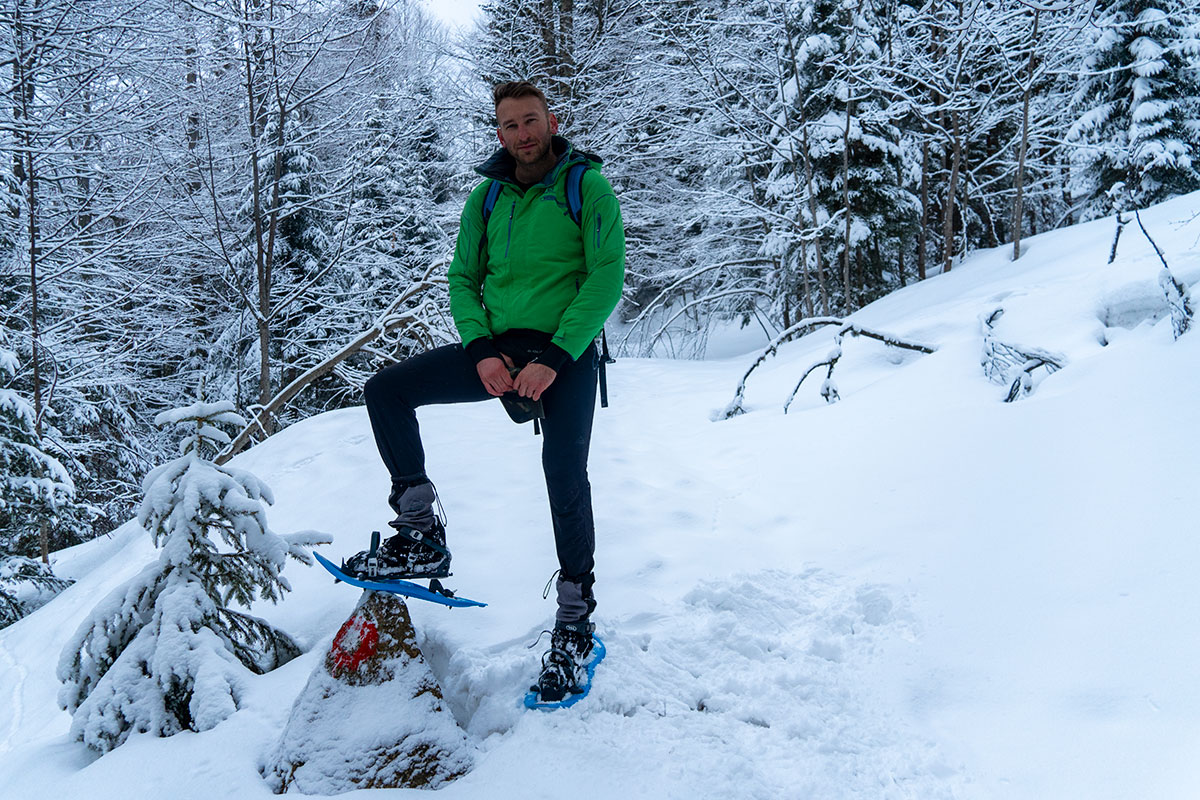 Enjoying the snowshoeing experience on the trail towards the Prokosko lake