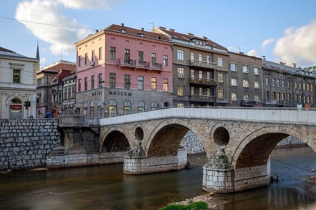 Latin Bridge and museum of Sarajevo dedicated to the events of Franz Ferdinand Assassination in 1914. The corner which triggered the WWI