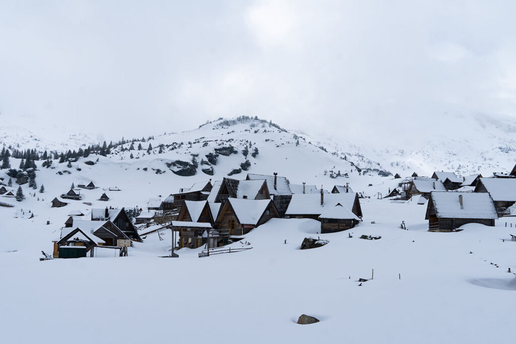 Prokosko Lake village at Vranica mountain during the winter