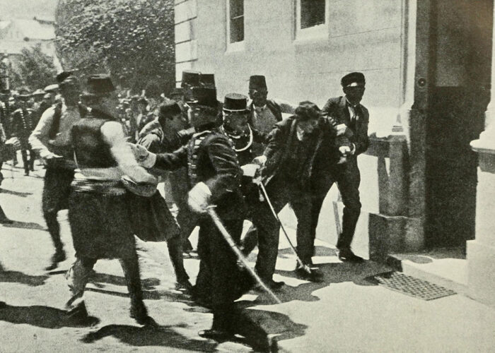 The arrest of Gavrilo Princip, assassin of Austrian Archduke Franz Ferdinand, the heir to the throne of Austria-Hungary, on June 28, 1914 at Sarajevo