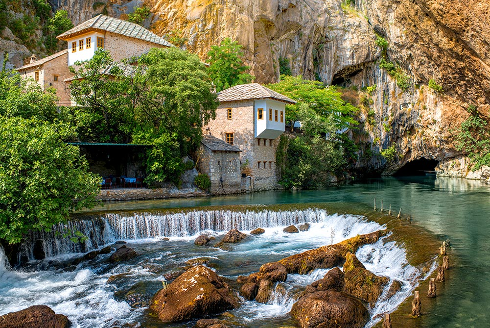 The mystical Blagaj dervish house and Buna river as one of the strongest river springs in Europe
