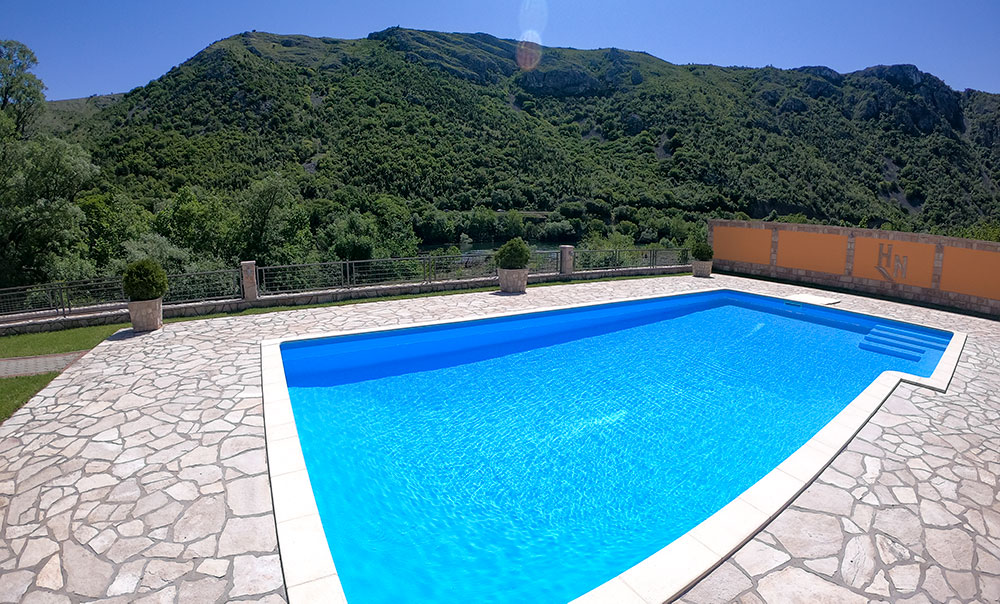 Herzegovina Villa private pool with a view over the river Neretva and surrounding hills