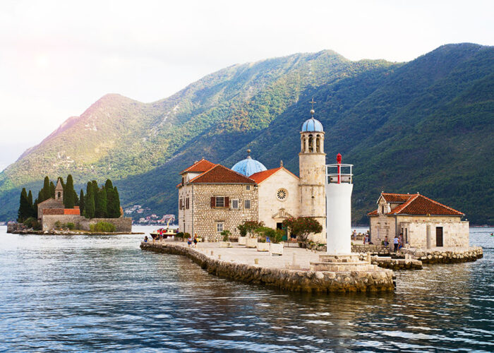 St George and Our Lady of the Rocks islets in Kotor bay near Perast